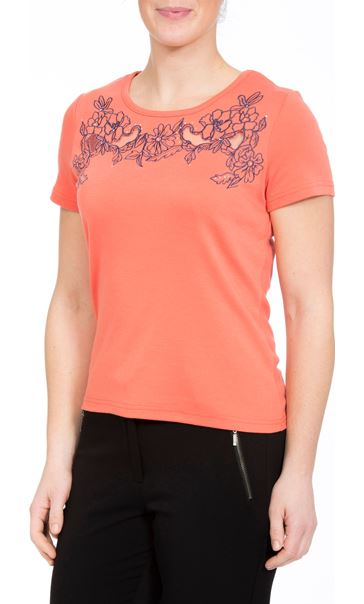 Anna Rose Short Sleeve Embroidered Top Orange - Gallery Image 2