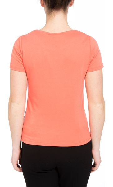 Anna Rose Short Sleeve Embroidered Top Orange - Gallery Image 3