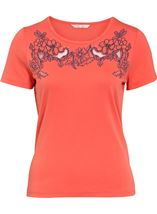 Anna Rose Short Sleeve Embroidered Top Orange - Gallery Image 1