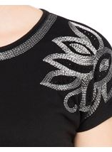 Embroidered Short Sleeve Jersey Top Black - Gallery Image 4
