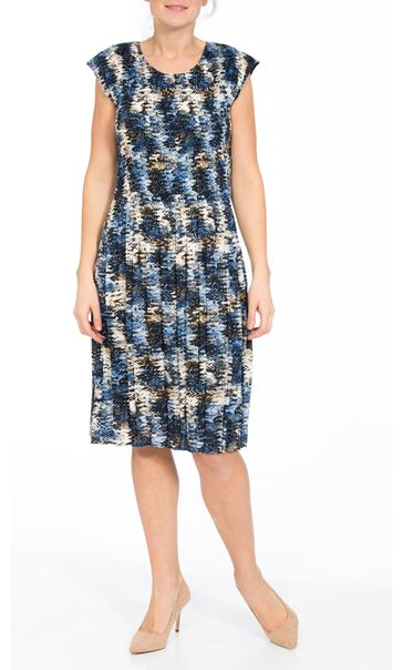 Printed Pleat Short Sleeve Midi Dress Blue/Navy/Mustard