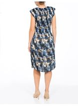 Printed Pleat Short Sleeve Midi Dress Blue/Navy/Mustard - Gallery Image 2