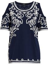 Cold Shoulder Monochrome Tapework Top Navy/Ivory - Gallery Image 1