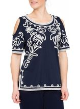 Cold Shoulder Monochrome Tapework Top Navy/Ivory - Gallery Image 2