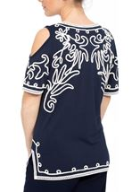 Cold Shoulder Monochrome Tapework Top Navy/Ivory - Gallery Image 3