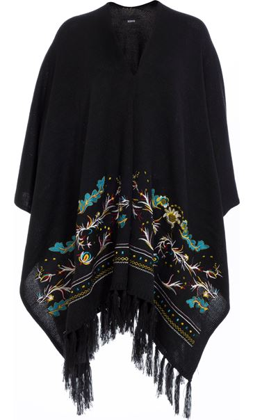 Embroidered Knitted Cape Black