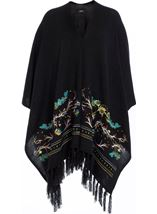 Embroidered Knitted Cape Black - Gallery Image 1