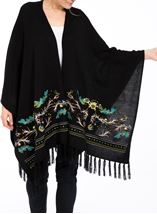 Embroidered Knitted Cape Black - Gallery Image 2