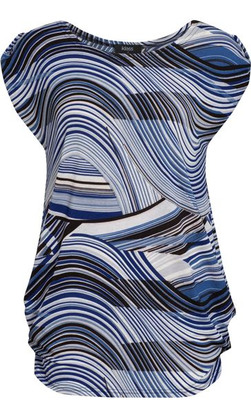 Short Sleeve Swirl Print Loose Fit Tunic Blue/Navy