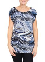 Short Sleeve Swirl Print Loose Fit Tunic Blue/Navy - Gallery Image 2