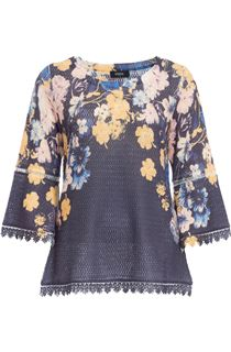 Floral Three Quarter Bell Sleeve Knit Top