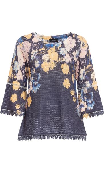 Floral Three Quarter Bell Sleeve Knit Top Navy