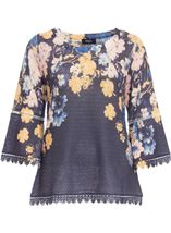 Floral Three Quarter Bell Sleeve Knit Top Navy - Gallery Image 1