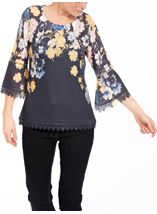Floral Three Quarter Bell Sleeve Knit Top Navy - Gallery Image 2
