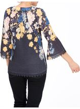 Floral Three Quarter Bell Sleeve Knit Top Navy - Gallery Image 3