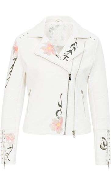 Embroidered Faux Leather Biker Jacket Ivory