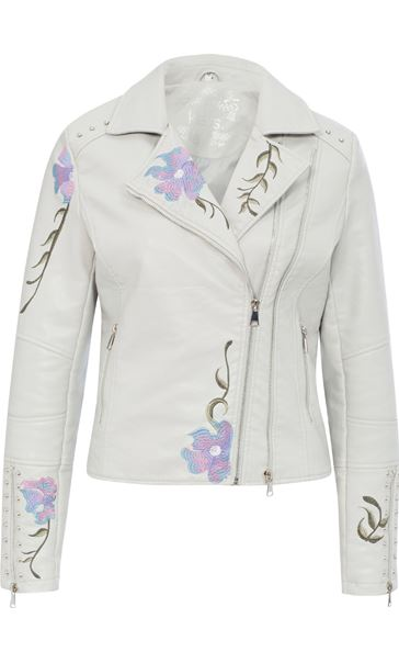 Embroidered Faux Leather Biker Jacket Grey Melange