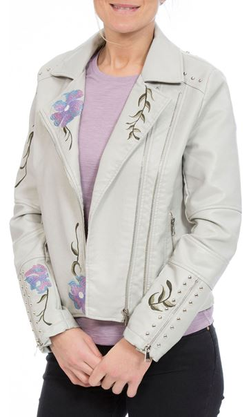 Embroidered Faux Leather Biker Jacket Grey Melange - Gallery Image 2