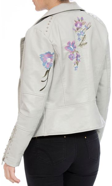 Embroidered Faux Leather Biker Jacket Grey Melange - Gallery Image 3