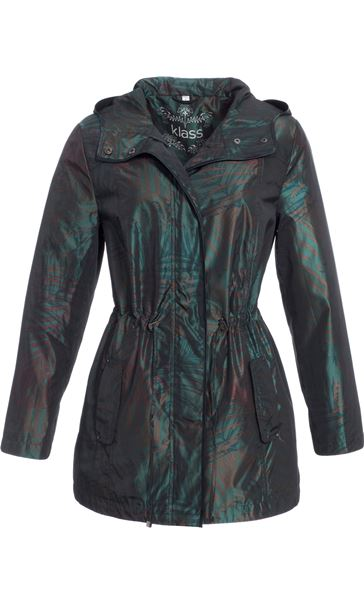 Metallic Leaf Printed Hooded Coat Jungle Green