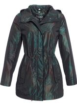 Metallic Leaf Printed Hooded Coat Jungle Green - Gallery Image 1