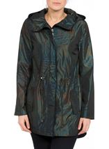 Metallic Leaf Printed Hooded Coat Jungle Green - Gallery Image 2
