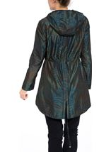 Metallic Leaf Printed Hooded Coat Jungle Green - Gallery Image 3
