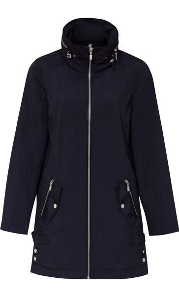 Sporty Zip Lightweight Coat Navy - Gallery Image 3