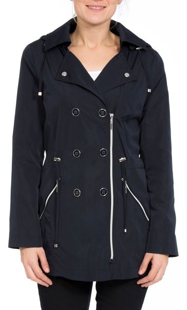 Anna Rose Double Breasted Zip Coat Navy