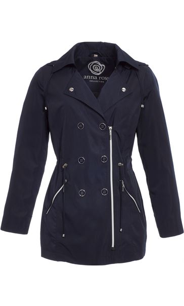 Anna Rose Double Breasted Zip Coat Navy - Gallery Image 3