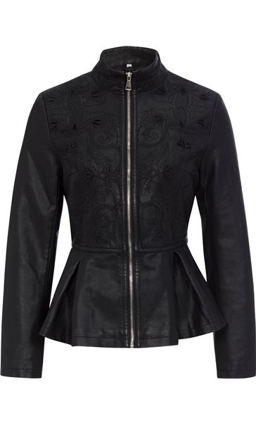 Faux Leather Embroidered Peplum Jacket Black