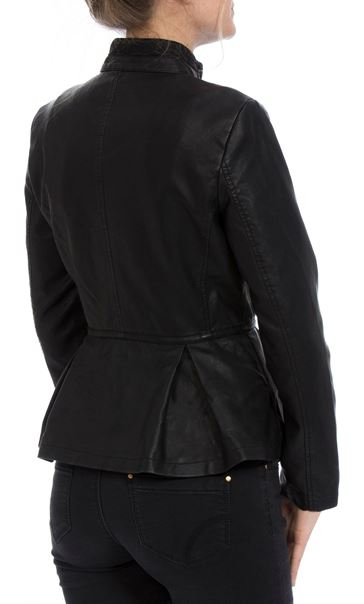Faux Leather Embroidered Peplum Jacket Black - Gallery Image 3