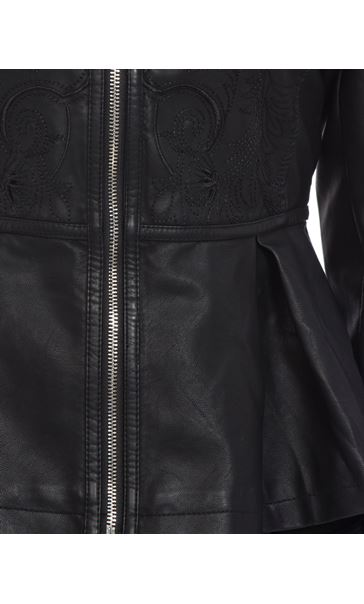 Faux Leather Embroidered Peplum Jacket Black - Gallery Image 4