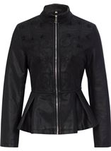Faux Leather Embroidered Peplum Jacket Black - Gallery Image 1