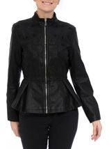 Faux Leather Embroidered Peplum Jacket Black - Gallery Image 2