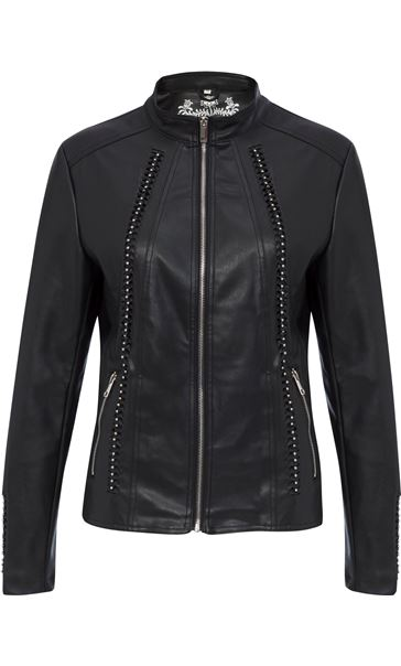 Faux Leather Embellished Zip Jacket Black