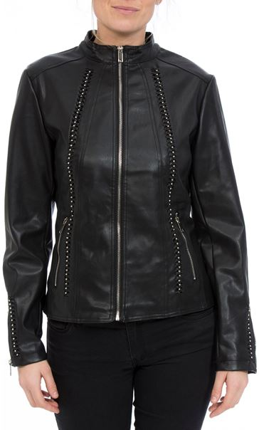 Faux Leather Embellished Zip Jacket Black - Gallery Image 2