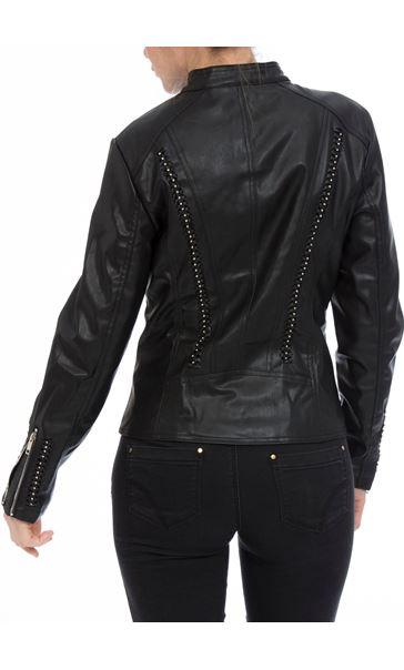 Faux Leather Embellished Zip Jacket Black - Gallery Image 3