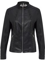 Faux Leather Embellished Zip Jacket Black - Gallery Image 1