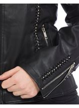 Faux Leather Embellished Zip Jacket Black - Gallery Image 4