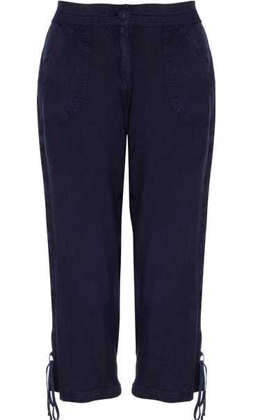 Anna Rose Washed Crop Trousers Navy
