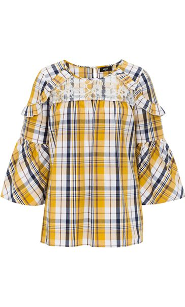 Lace Trimmed Bell Sleeve Check Top Navy/Mustard