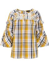 Lace Trimmed Bell Sleeve Check Top Navy/Mustard - Gallery Image 1