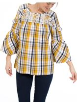 Lace Trimmed Bell Sleeve Check Top Navy/Mustard - Gallery Image 2