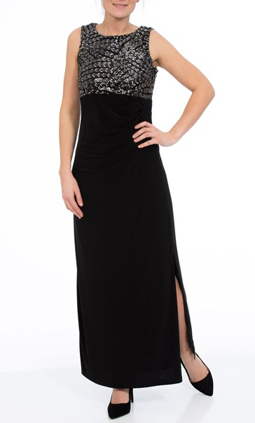 Embellished Sleeveless Maxi Dress Black/Silver