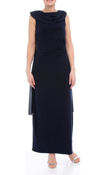 Sleeveless Ity Chiffon Drape Maxi Dress Midnight