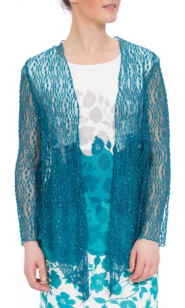 Anna Rose Sparkle Knit Tie Cover Up Teal