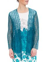 Anna Rose Sparkle Knit Tie Cover Up Teal - Gallery Image 1