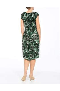 Pleated Leaf Print Short Sleeve Midi Dress