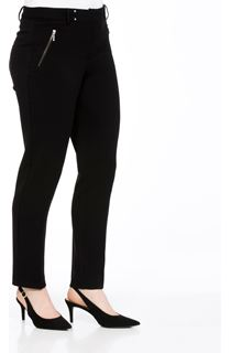 Narrow Leg Zip Trousers - Black